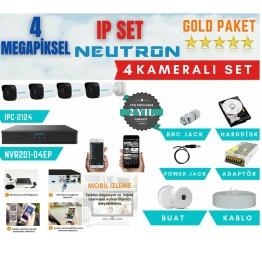 Neutron 4 Kameralı H265+ 4MP IP Set Full Hazır 4Lü IP Kamera Seti